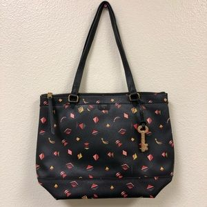 Fossil black leather gift print shopper tote